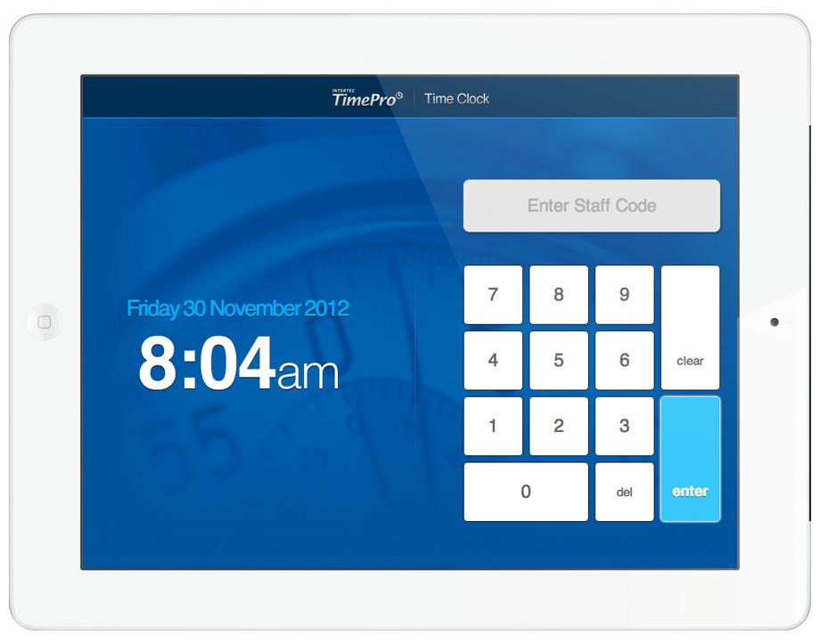 Time Clock Interface Intertec Timepro