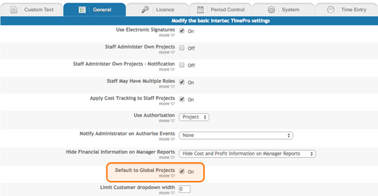 Ability to default your preference for Global Project/Staff assignment